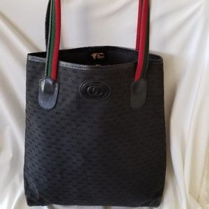 Authentic Gucci Black GG Canvas Leather Trim Purse